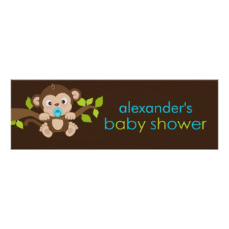 Cute Little Monkey Boy Baby Shower Banner Poster