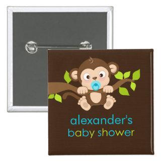 Cute Little Monkey Boy Baby Shower Button