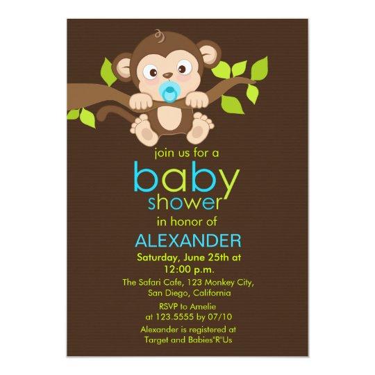 Cute little monkey boy baby shower invitation zazzle cute little monkey boy baby shower invitation filmwisefo