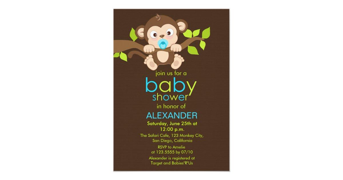 Cute Little Monkey Boy Baby Shower Invitation | Zazzle.com