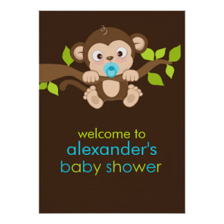 Cute Little Monkey Boy Baby Shower Poster