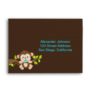 Cute Little Monkey Boy Envelope