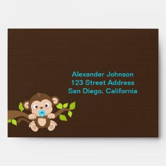 Cute Little Monkey Boy Envelope