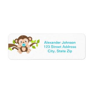 Cute Little Monkey Boy Return Address Label