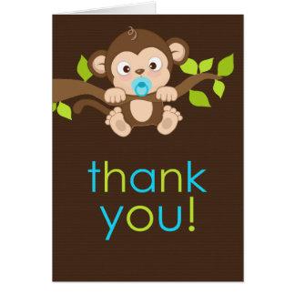 Cute Little Monkey Boy Thank You Card