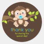 Cute Little Monkey Boy Thank You Sticker
