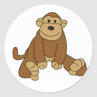 Cute Little Monkey Classic Round Sticker