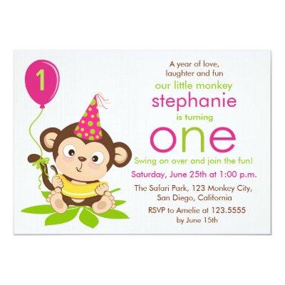 Trendy girl monkey jungle baby shower invitations zazzle filmwisefo