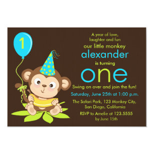 Monkey first birthday invitations announcements zazzle cute little monkey first birthday invitation filmwisefo Image collections