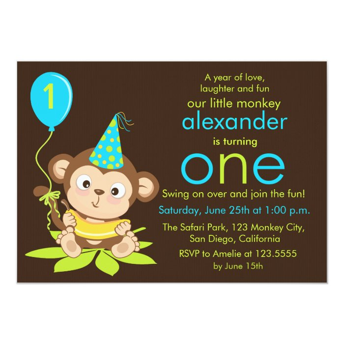 monkey birthday cake template - cute little monkey first birthday invitation zazzle