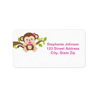 Cute Little Monkey Girl Address Labels