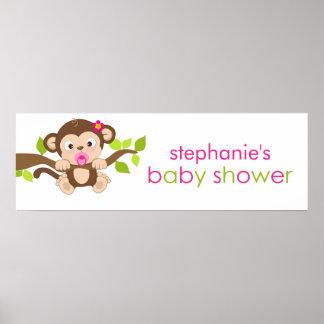 Cute Little Monkey Girl Baby Shower Banner Poster