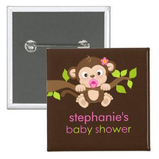 Cute Little Monkey Girl Baby Shower Button