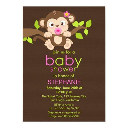 Cute Little Monkey Girl Baby Shower Invitation | Zazzle