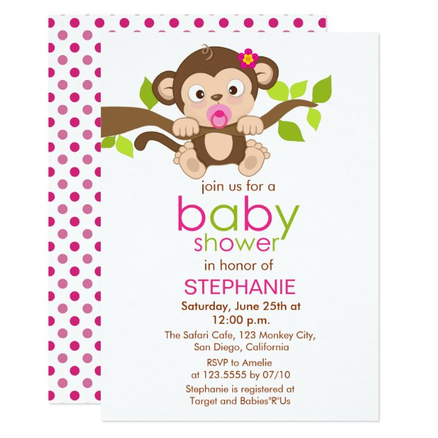 Little monkey girl baby shower invitation cute little monkey girl baby shower invitation filmwisefo Gallery