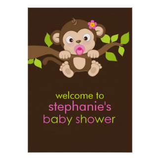 Cute Little Monkey Girl Baby Shower Poster