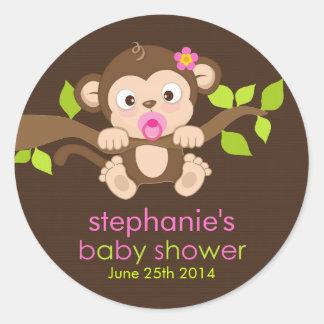 Cute Little Monkey Girl Baby Shower Sticker
