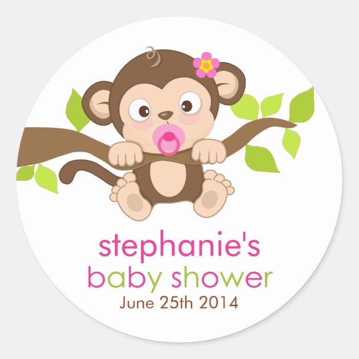 cute little monkey girl baby shower sticker zazzle