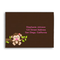 Cute Little Monkey Girl Envelope