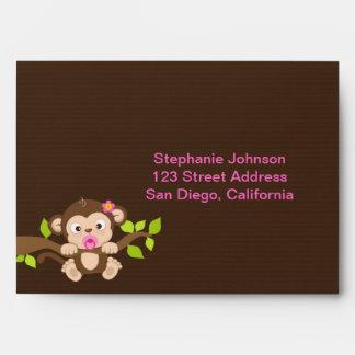 Cute Little Monkey Girl Envelope