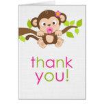 Cute Little Monkey Girl Thank You Card