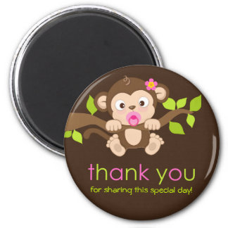 Cute Little Monkey Girl Thank You Magnet
