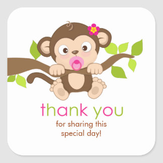 Cute Little Monkey Girl Thank You Sticker