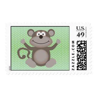 Cute Little Monkey on Green Postage Stamp