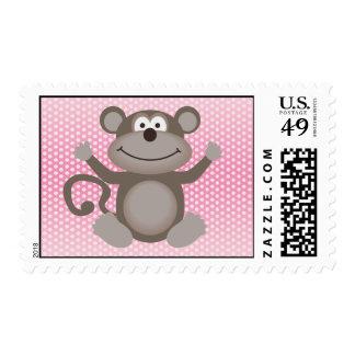 Cute Little Monkey on Pink Postage