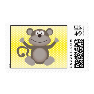 Cute Little Monkey on Yellow Stamp
