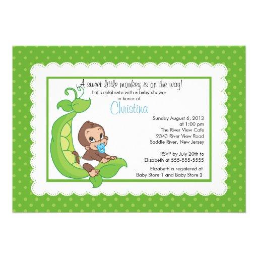 cute little monkey pea pod baby shower invitations 5 x 7 invitati