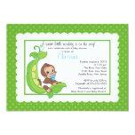 Cute Little Monkey Pea Pod Baby Shower Invitations