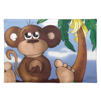Cute Little Monkey Sitting Next to Banana Tree Cloth Placemat