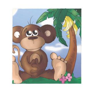 Cute Little Monkey Sitting Next to Banana Tree Notepad
