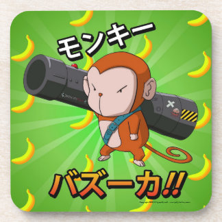 Cute Little Monkey with Bazooka and Bananas Coaster