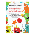 CUTE Little Monster Bash Birthday Party 5x7 Paper Invitation Card