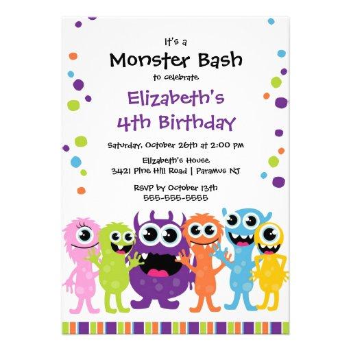 CUTE Little Monster Bash Birthday Party Custom Announcement
