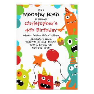 CUTE Little Monster Bash Birthday Party Custom Invites