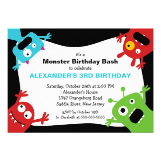 CUTE Little Monster Bash Birthday Party Custom Announcements