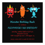 CUTE Little Monster Bash Birthday Party 5.25x5.25 Square Paper Invitation Card