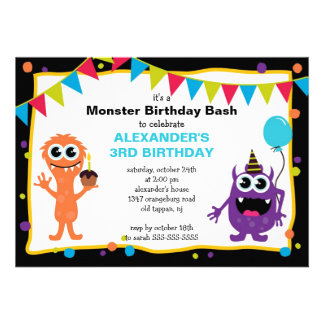 CUTE Little Monster Bash Birthday Party Personalized Announcements