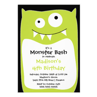 CUTE Little Monster Bash Birthday Party Lime Invitations