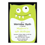 CUTE Little Monster Bash Birthday Party Lime 5x7 Paper Invitation Card