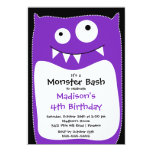 CUTE Little Monster Bash Birthday Party Purple Announcements