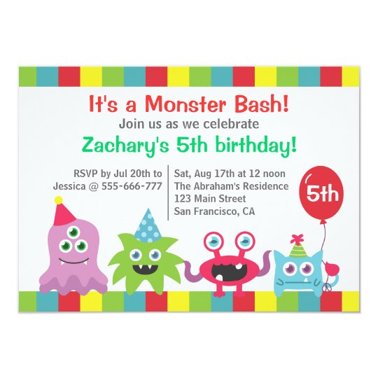 Cute Little Monster Birthday Party Bash for Kids Card
