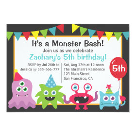 Cute Little Monster Birthday Party Bash for Kids 5x7 Paper Invitation Card