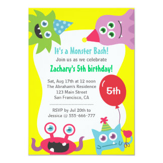 Cute Little Monster Birthday Party Bash for Kids Personalized Announcements