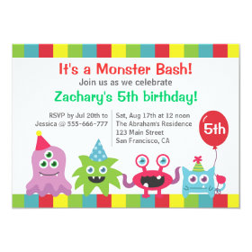 Cute Little Monster Birthday Party Bash for Kids 4.5x6.25 Paper Invitation Card