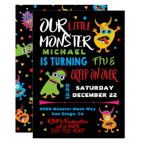 Cute Little Monster Birthday Party Invitation