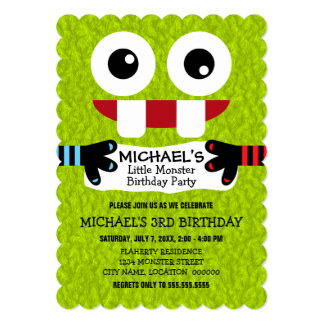 "Cute Little Monster Birthday Party 5"" X 7"" Invitation Card"